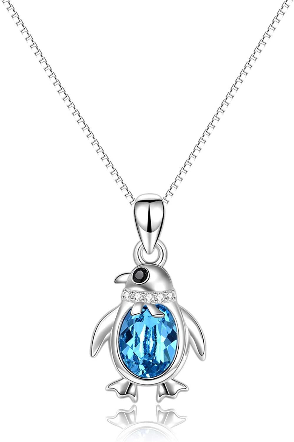 Penguin Gift- gift Cute Necklace for C Women Discount mail order Silver- Sterling
