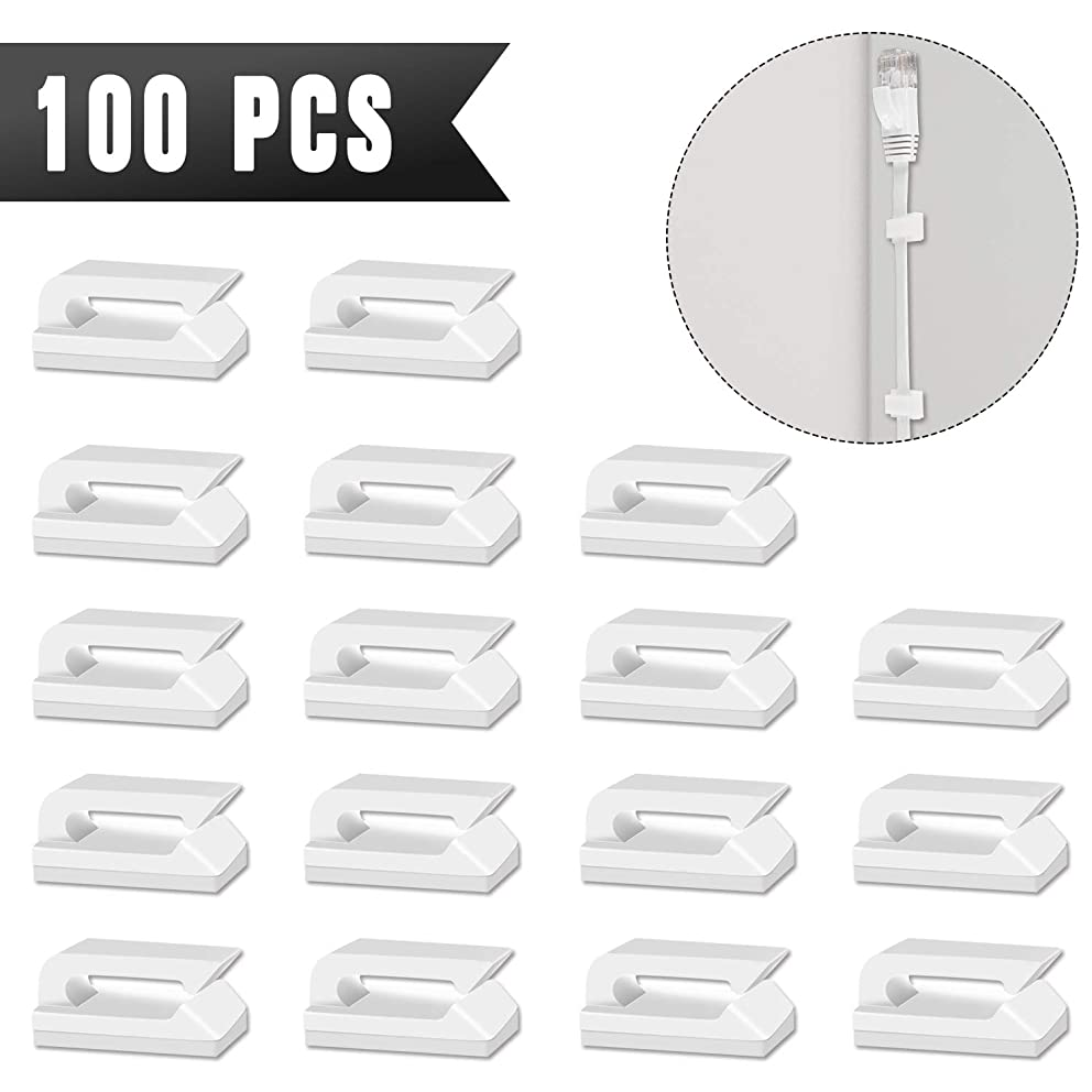 Adhesive Cable Clips - CableGeeker 100 Pieces Self-Adhesive Cable Organizer with Strong Adhesive Pad,No Tools Required Cord Holder for Cat6 Cat7 Flat Ethernet Cable (White)