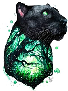 WYUEN 5 hojas Panther Body Art Adhesivo de Tatuaje Temporal para Hombres Mujeres Falso Impermeable Mujer