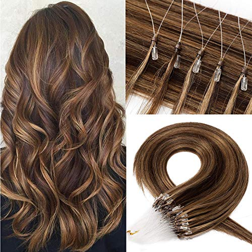 Microring Extensions Loop Echthaar 50 Strähnen Haarverlängerungen 1G/Stück Micro Bondings Remy Human Haar Mittelbraun/Honigblond #4p27 18