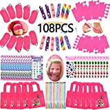 Spa Party Favors for Girls Multiple Spa Party Supplies- (12 Tote Bags, 12 MINI Emery Boards,12 Colored Hair Clip Braids, 24 Toe Separators, 12 Body Jewels, 12 Unicorn Nail Decal Sets) with 1 or More Secret Spa Gift Total 85pcs
