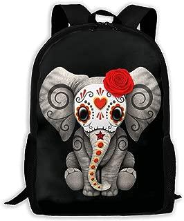 Red Day of The Dead Sugar Skull Baby Elephant Backpack Laptop Bags Shoulder Bag College Daypack Backpacks for Unisex