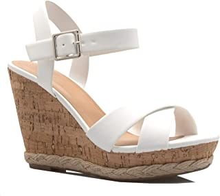 2232e267bb05 OLIVIA K Women's Open Toe T-Straps Strappy High Wedge Heel Wood Decoration  Buckle Shoes