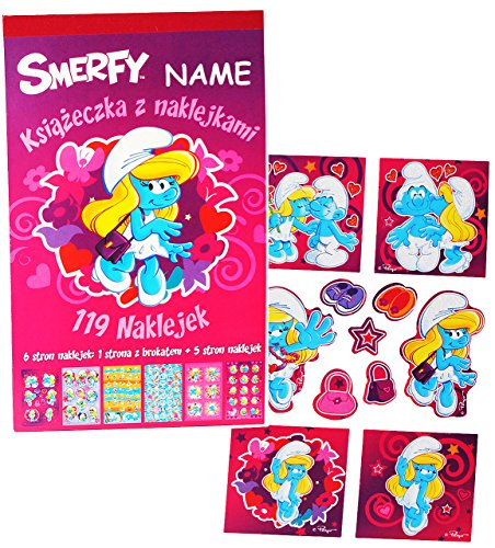 alles-meine.de GmbH Block mit - Sticker / Aufkleber - Schlumpfine die Schlümpfe incl. Name - für Kinder Kind / groß - mit Glitzer ! - z.B. für Stickeralbum / Stickerblock - S..