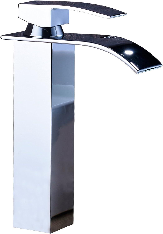 Senlesen Waterfall Bathroom Countertop Sink Faucet Basin Waterfall Mixer Tap Tall Body
