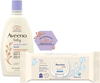 Aveeno Baby Calming Comfort Bath with Relaxing Lavender & Vanilla Scents, Hypoallergenic, 18 Fl Oz (Pack of 1) with Sensit...