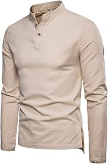 Overdose Men's Linen Stand Collar Long Sleeve Slim Fit Shirt Casual Fashion Spring Wear Solid Color Blouse T-Shirt Top