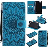 pinlu® PU Leder Tasche Etui Schutzhülle für Wiko Lenny 3 (5 Zoll) Lederhülle Schale Flip Cover Tasche mit Standfunktion Sonnenblume Muster Hülle (Blau)