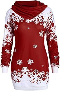 Fashion Women Merry Christmas Snowflake Printed Tops Cowl Neck Sweatshirt Blouse