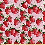 ABAKUHAUS rot Satin Stoff als Meterware, Saftige Erdbeeren