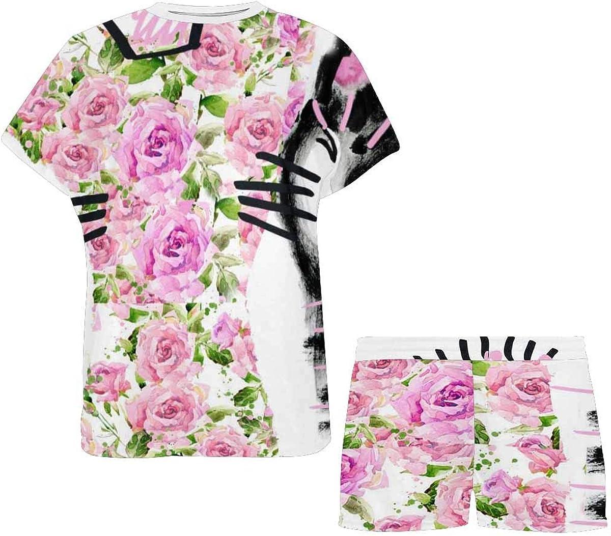 INTERESTPRINT Cat Cute Cat Kitten Women's Pajamas Short Sets Round Neck Short Sleeve Sleepwear