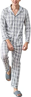 Zhhlaixing 高品質の Adult Classic Cotton Nightwear Set Mens Simple Casual Long sleeves Pajama