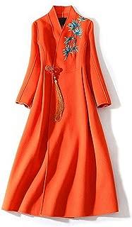 HangErFeng Dress Double Faced Alpaca Velvet Embroidered Fringed V Neck Long Coat Style Skirt