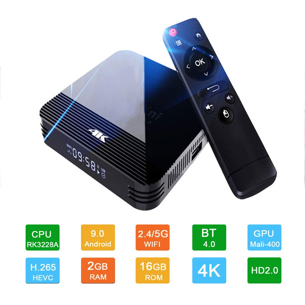 LTLZCY Android TV Box [2G + 16G], Box Android 9.0 TV Box RK3228A, Apoya Bluetooth 4.0/WLAN 2.4G/5.0G /4K HD/Smart TV Box Android Set-Top-Box,2g+16g,EUPlug: Amazon.es: Hogar