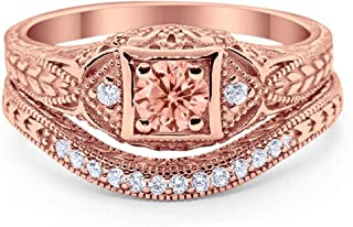 Art Deco Vintage Style Two Piece Wedding Engagement Bridal Set Ring Band Round CZ 925 Sterling Silver Choose Color