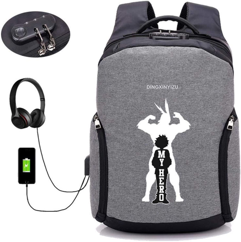 GuiSoHn Anti-Theft USB-Lade Herren Ruckscke Anime My Hero Academia Daypack Student Schultasche Jugendliche Laptop Reiserucksack