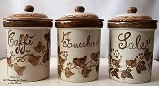 Set 3 Barattoli Sale Zucchero Caffé Linea Edere Marrone Ceramica Le Ceramiche del Castello Handmade Pezzi Unici Made in It...