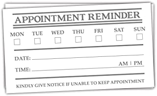 50 Appointment Reminder Cards (Standard Business Card Size)