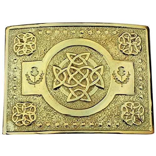 Scottich Traditional Celtic Knot Design Kilt Belt Buckle Various Color (Gold)