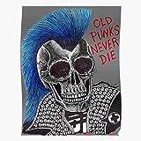 Bestofthebunch Tattoo Anarchy Punk Metal Skull Green Heavy Music Regalo per la Decorazione Domestica Poster da Parete Stampa Artistica 11.7 x 16.5 inch
