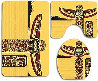 Artesanía Tribal nativo Tótem norteamericano Poste rojo Canadá Celebración del antiguo noroeste de la India Juego de alfombras de baño antideslizantes de 3 piezas Juego de alfombras de contorno en for