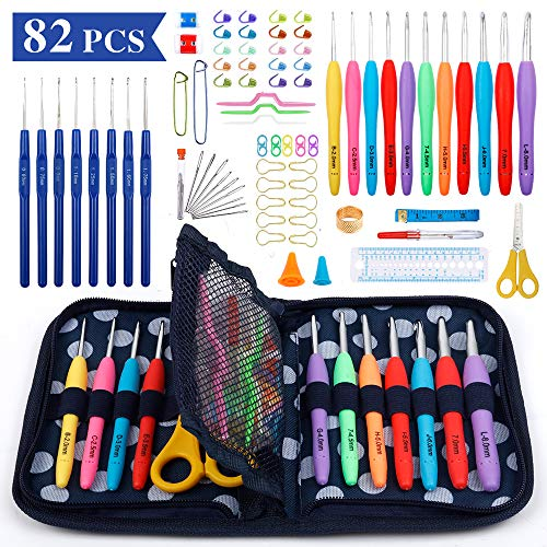 Crochet Hook Set, 82 Pcs Yarn Knitting Kit with 11 Sizes Rubber Handle Hooks, 8 Sizes Plastic Handle Hooks and Accessories, Ergonomic Handles for Arthritic Hands, Best Gift for Women by Inscraft