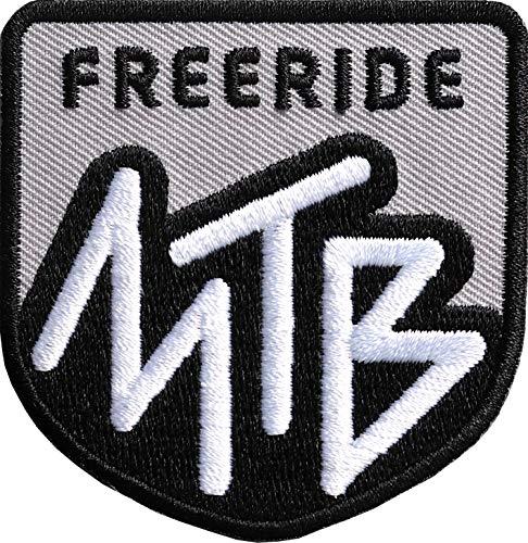 2 x MTB Freeride Patch 60 x 62 mm hochwertig gestickt / Aufbügler Aufnäher Flicken Bügel-Flicken zum bügeln nähen auf Kleidung Cap Rucksack / Mountainbike Downhill Radtour Bikinig Cycling (Grau)