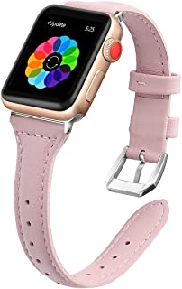 iGK Leather Bands Compatible with Apple Watch Band 38mm 40mm 42mm 44mm,Slim Leather Strap Replacement Bands with Stainless Steel Buckle for iWatch Apple Watch Series 4 3 2 1