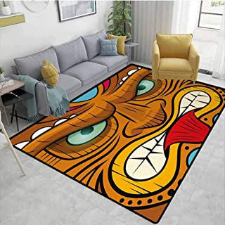 Tiki Bar Modern Area Rug Cartoon Style Angry Looking Tiki Warrior Mask Colorful Icon Totem Culture Print Anti-Static W71 x L82 Multicolor