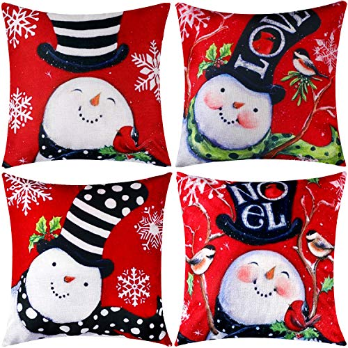 Jetec 4 Pieces Pillow Case Throw Cushion Cover Cotton Linen Pillow Decorations for Halloween Thanksgiving Christmas Autumn, 18 by 18 inch (Color Set 10)