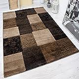 VIMODA Teppich Modern Patchwork Optik Kariert Meliert in Braun, Maße:80 x 150 cm