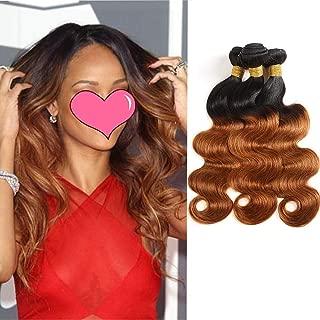100 Percent Human Hair Extension 2 Tone Virgin Hair Feelgrace Hair 10A Ombre Brazilian Hair Body Wave 3 Bundles 1B/30 Body Wave Weave(18 20 22)