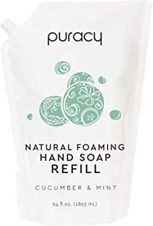 Puracy Natural Foaming Hand Soap Refill, Cucumber & Mint, Sulfate-Free Foam Hand Wash, 64 Ounce