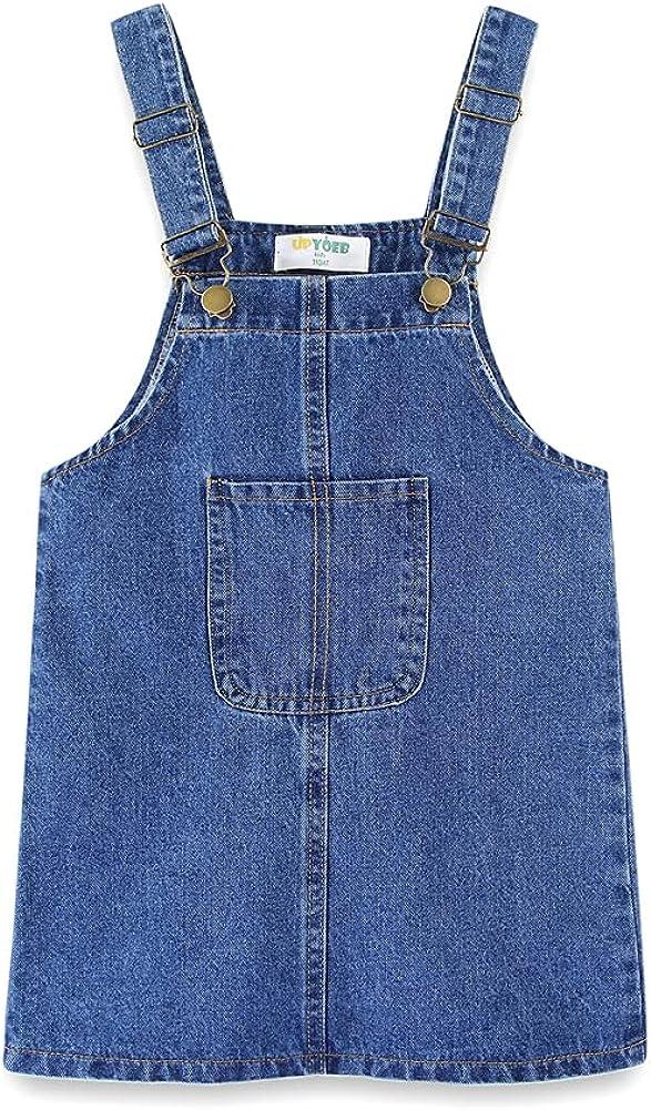 UP YO EB Little Girls Buttons Strap Suspender Skirt Cute Dot Cotton Dress