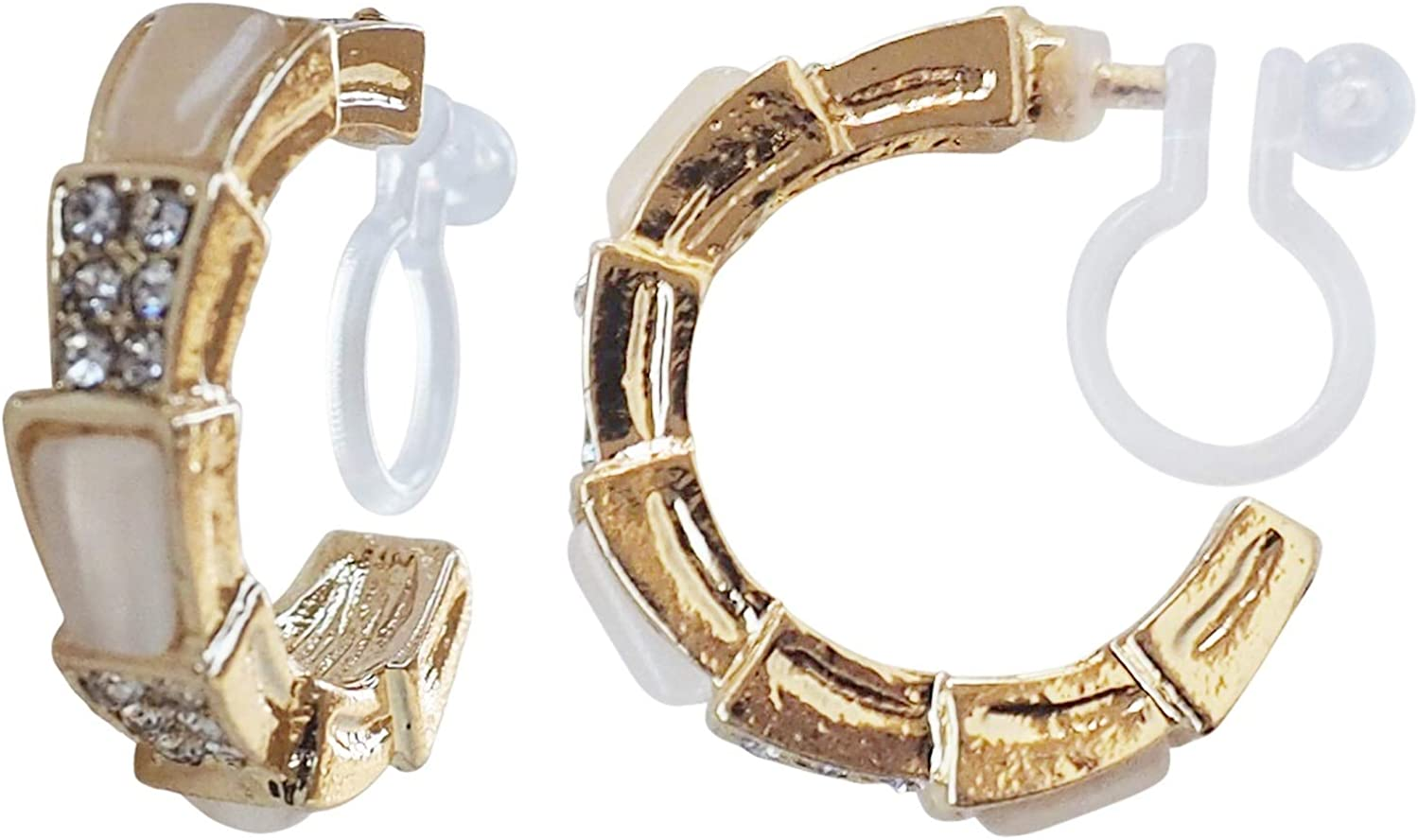 White Crystal Invisible Clip On Hoop Earrings Gold Rhinestone Hoop for Women Non Pierced Elegant Comfortable Clip On Earrings Gold tone MiyabiGrace
