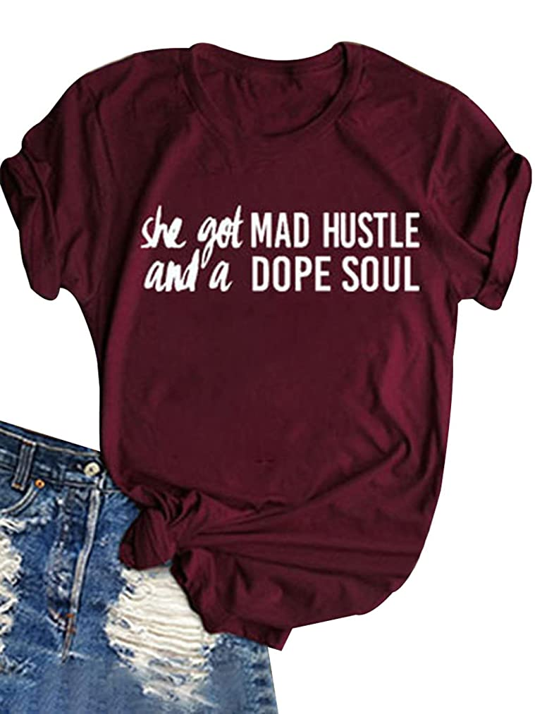 FAYALEQ She Got Mad Hustle and A Dope Soul T-Shirt Women's Letter Print Funny Tee Tops