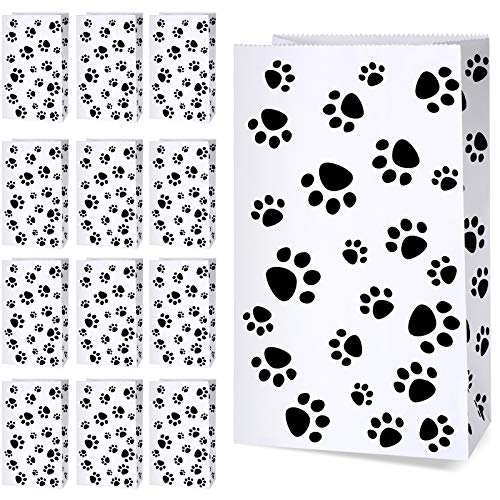 36 Pack Paper Puppy Dog Paw Print Treat Bags