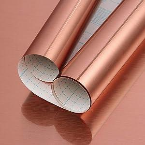 "Rose Gold Contact Paper Rose Gold Metallic Self-Adhesive Contact Paper Metal Look Peel and Stick Wallpaper Rose Gold PET Film Home DIY Decor for Furniture Backsplash Shelf Liner Decals 17.7""X 78.7"""