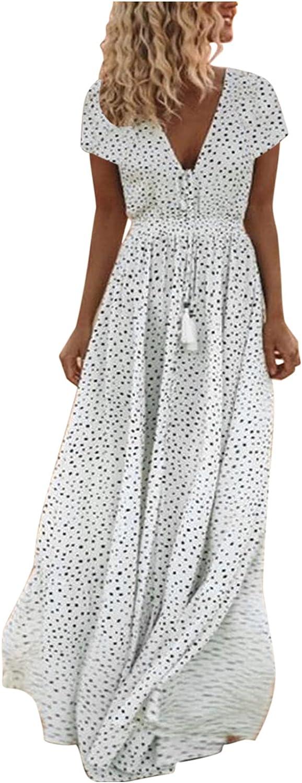 EZ Tuxedo Women's Boho Polkadot Maxi Dress V Neck Short Sleeve Plus Size Loose Long Dress