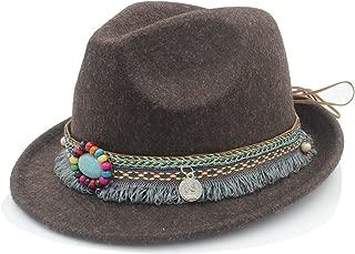 SGJFZD Bohemia Ribbon for Elegant Lady Jazz Church Godfather Sombrero Caps Fashion Wool Women Men Outback Fedora Hat with Tassel (Color : Coffee, Size : 57-58cm)