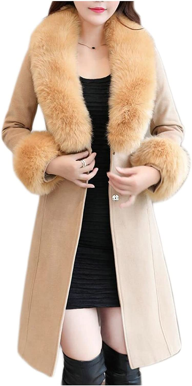 GAGA Women's Basic Faux Fur Collar Wool Blend Coat Long Trench Coat With Belt