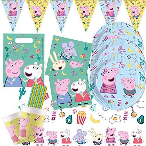 spielum Juego de 54 piezas para fiesta de Peppa Pig – Platos, vasos, servilletas, mantel, bolsas de fiesta, banderines y pajitas para 8 niños