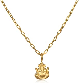 Womens Gold Ganesha Pendant Necklace 18-Inch, One Size