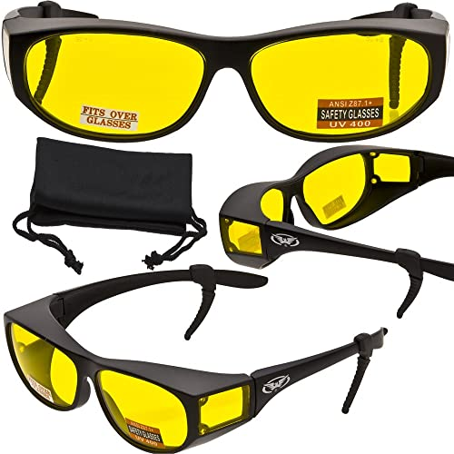 68046881c1 Escort Advanced System Safety Glasses Fits Over Most Prescription Eyewear -  FREE Rubber EAR LOCKS and
