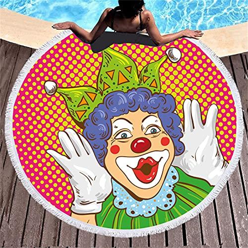 Toalla De Playa Redonda De Microfibra con Impresión Digital En Color De Payaso, Toalla De Baño Absorbente De Secado Rápido, Alfombra De Playa A Prueba De Arena 150 * 150cm