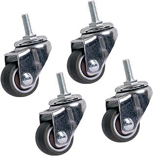 Peakfeng Zwenkwielen met remmen,Meubelwielen, M6/M8, Kleine transportwielen, Rubber wielen, Stil, 360deg; Rotatie, 4 Pcs, ...