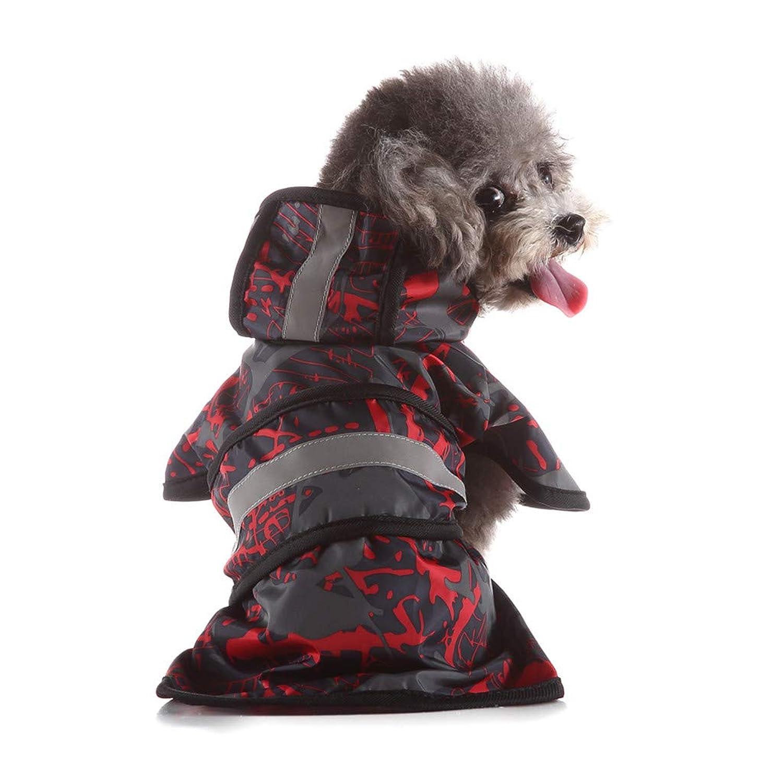Colmkley 犬用フード付きレインコート 通気性 防水 4フィート 4脚 レインコート 防水 服 大型中型小型犬用 軽量 レインジャケット ポンチョパーカー Free