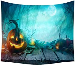 Amaae Halloween Tapestry Pumpkins Tree Print Wall Hanging Tapestry Art Home Decoration(Color:Multicolor ; Material:Polyester)