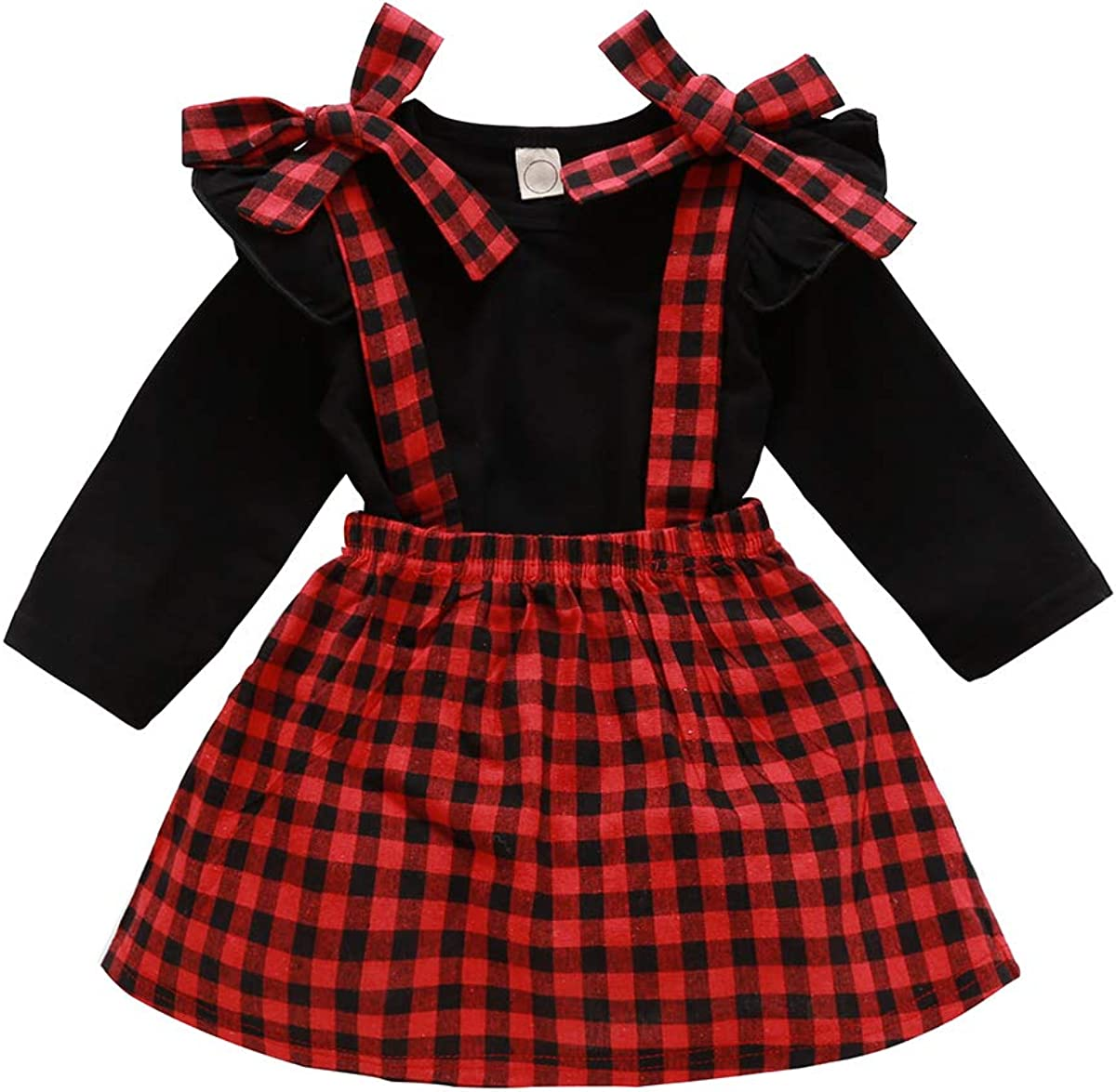 Baby Girl Fall Clothes Set Solid Color Long Sleeve Top and Red Plaid Bandage Suspender Skirt Infant Girl 2PCS