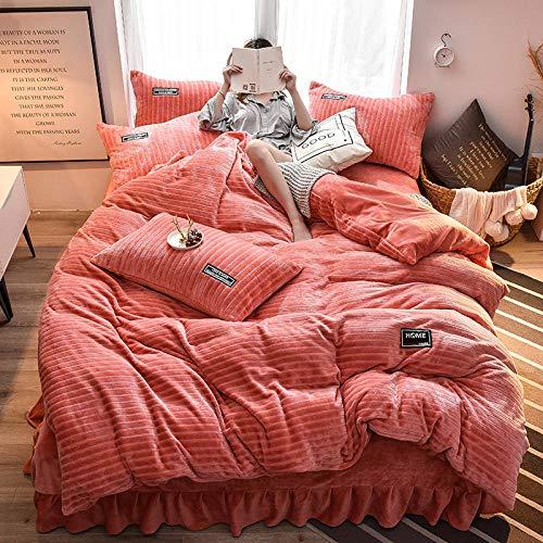 RESUXI Weihnachten Bettbezug Set Doppel, Winter Flanell Vierteilige Anzug Samt Bettwäsche Bettbezug Magic Velvet Dicke Doppel Samt Bettwäsche